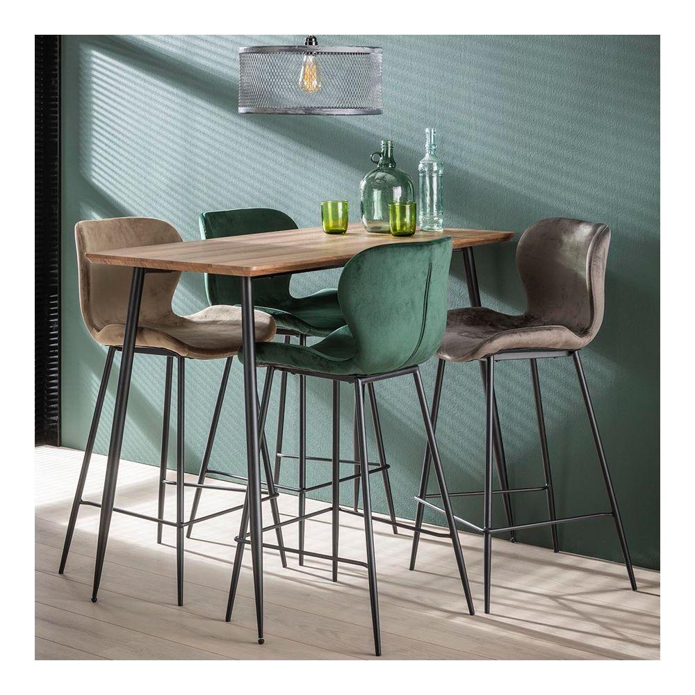 Nouvomeuble Table haute en bois et métal moderne JARED