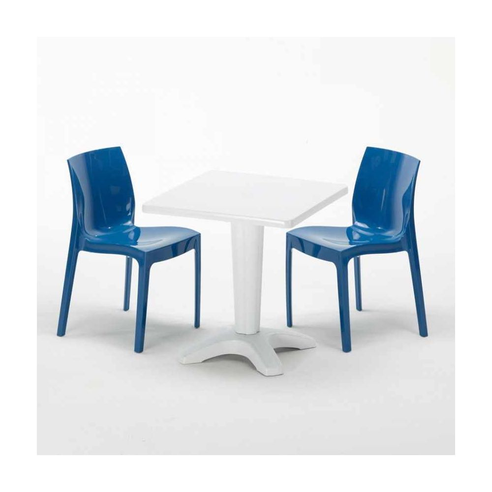 Grand Soleil Table et 2 chaises colorées polypropylen