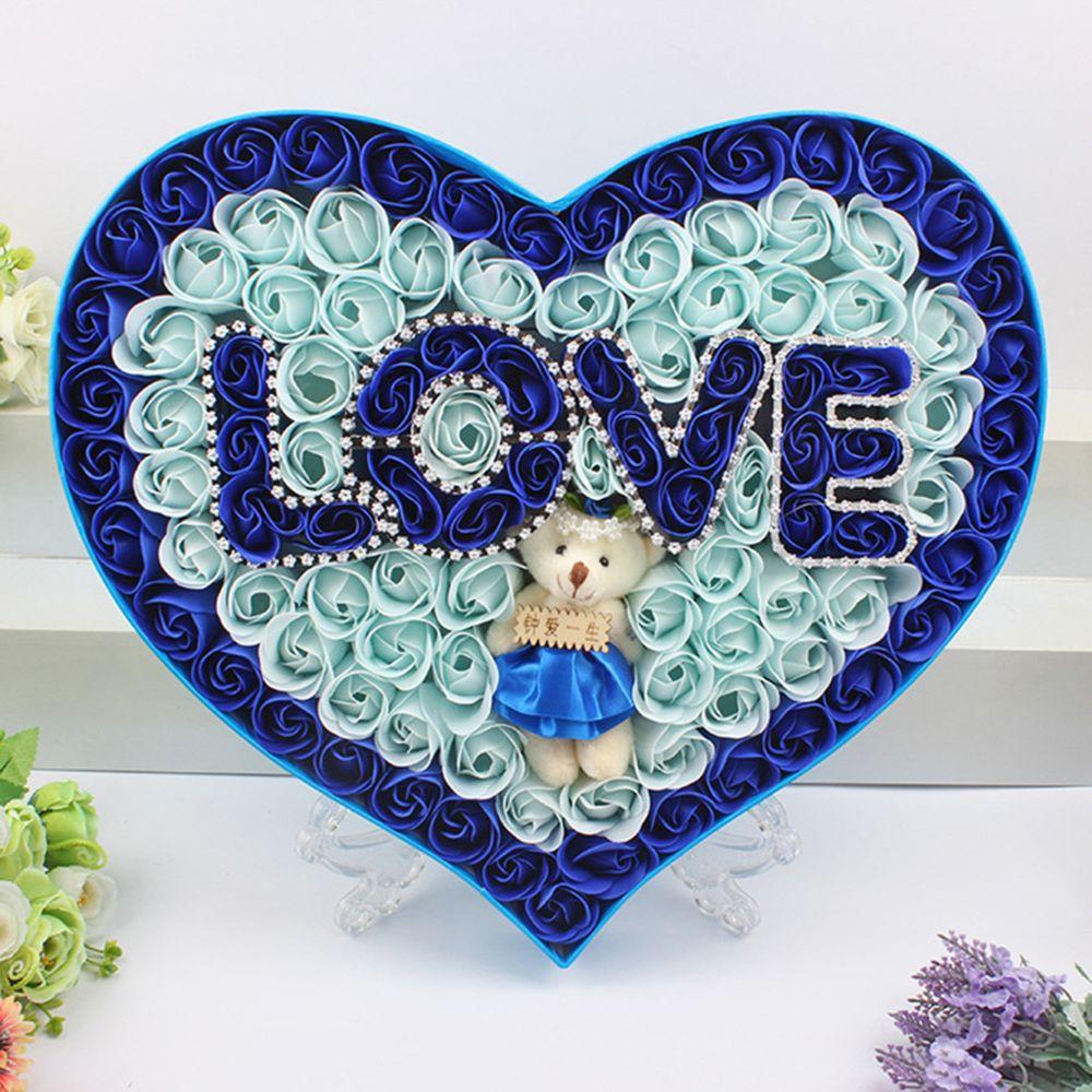 Generic Savon bricolage Saint Valentin cadeau Boîte à fleurs Rose bouquet de mariage Accueil Festival de cadeaux Bleu