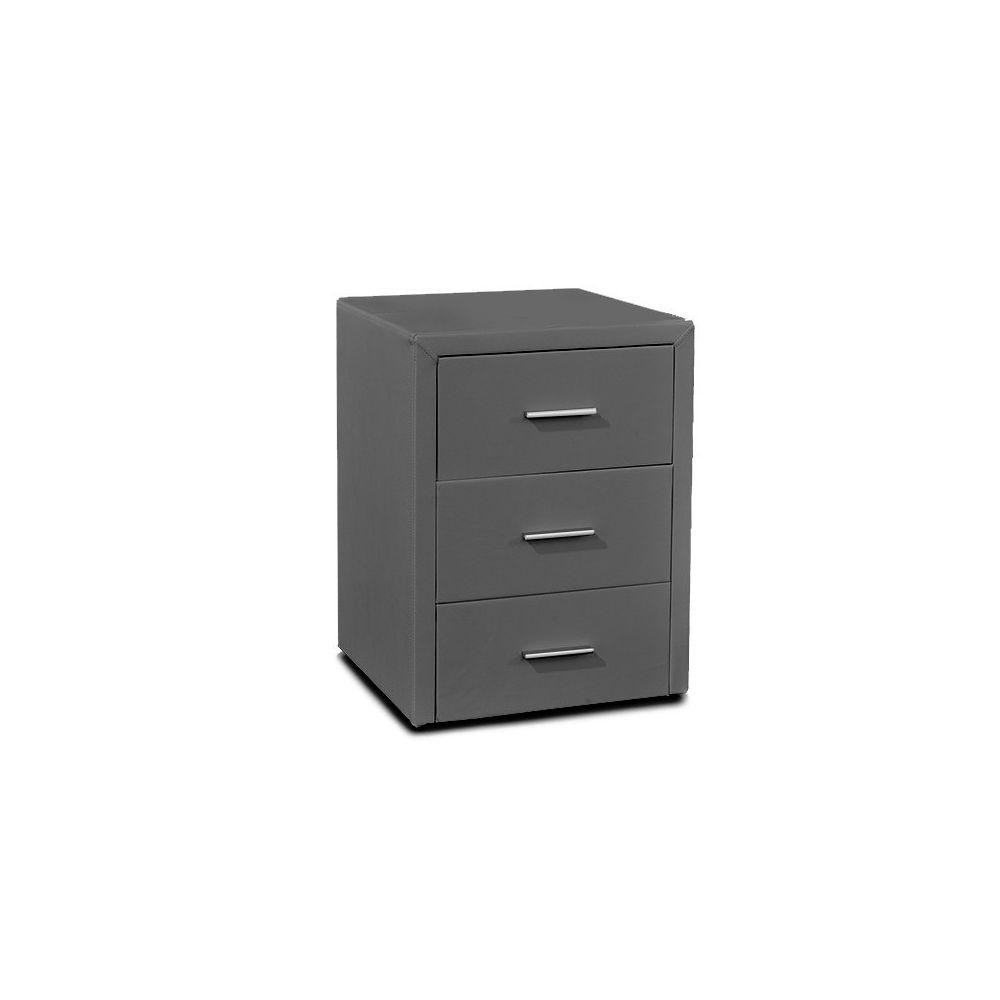 Meubler Design Table chevet 3 tiroirs Kasi - Gris