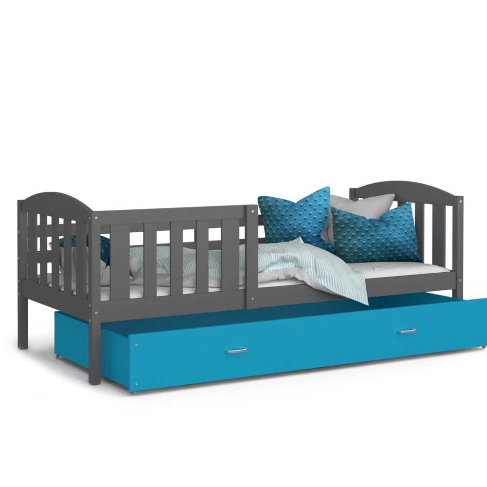 Kids Literie Lit enfant Téo 90x190 gris bleu livré avec tiroir, sommier et matelas en mousse de 7cm offert