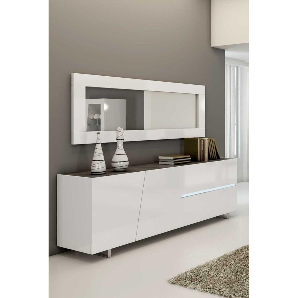 Sofamobili Buffet bahut blanc laqué design JOSHUA