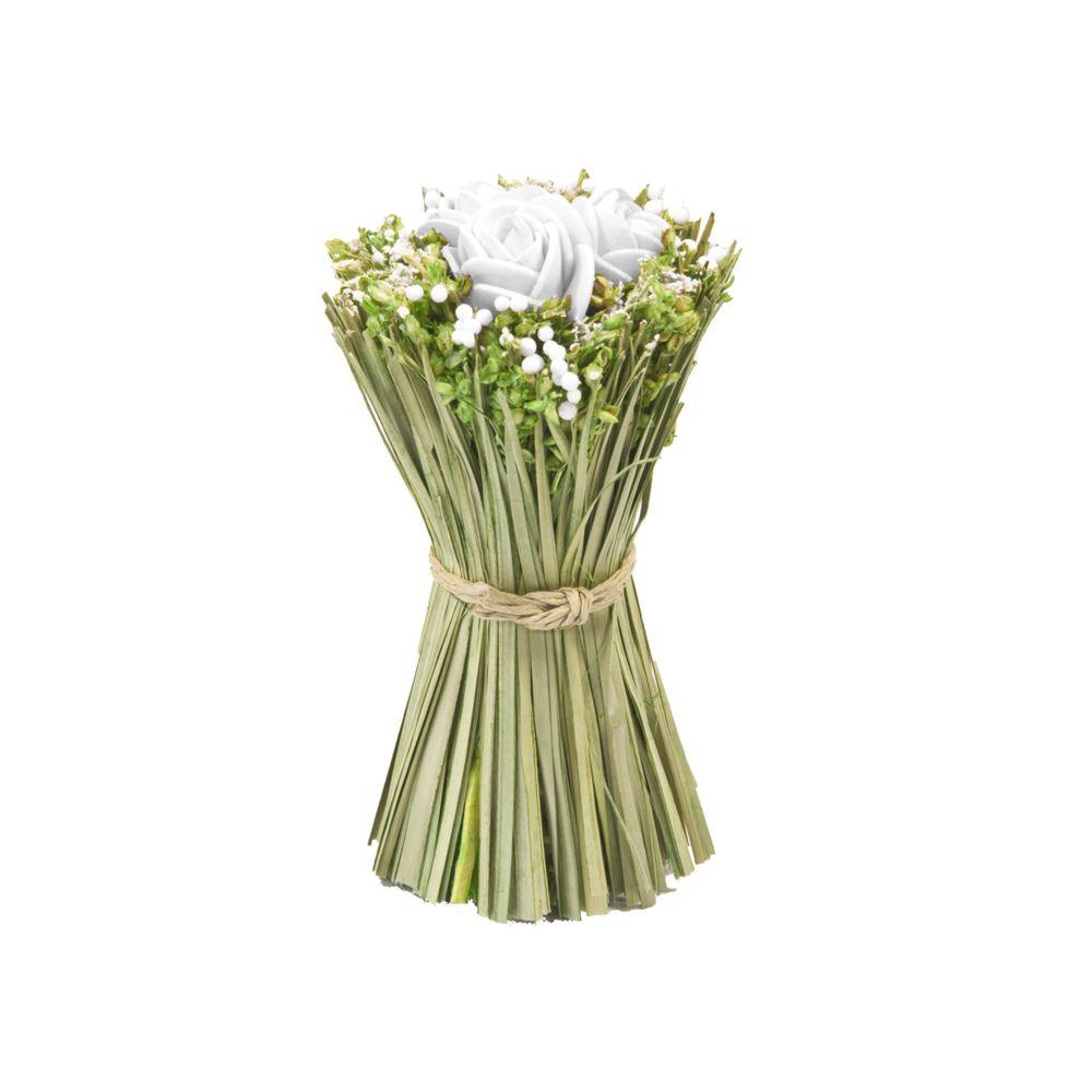 Visiodirect Lot de 12 Fagots de roses et fleurs à poser coloris Blanc - 11 cm