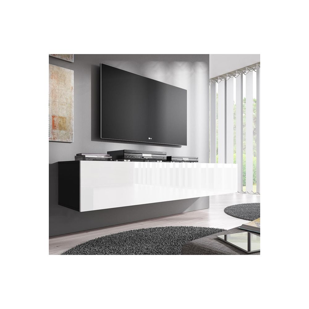 Design Ameublement Meuble TV modèle Forli XL (160 cm) noir avec blanc