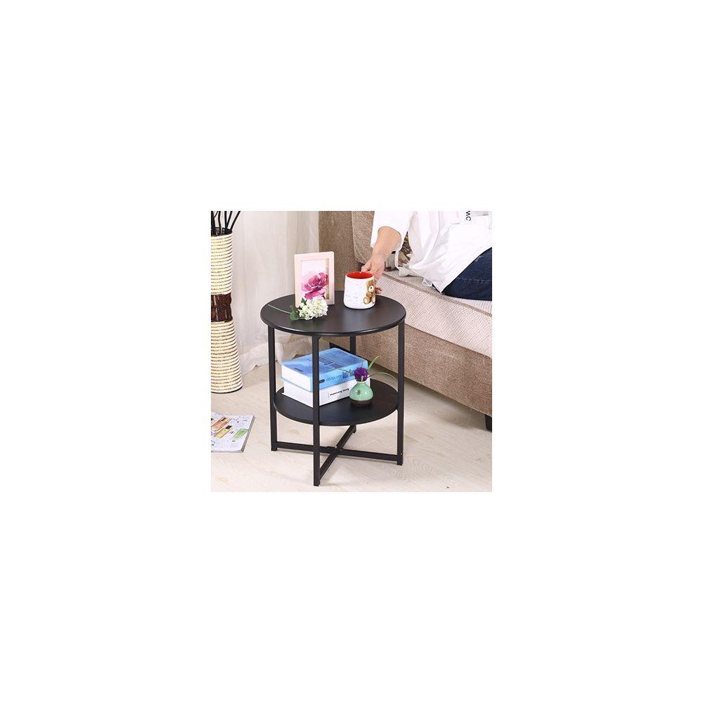 Wewoo Mini table de thé ronde de salon moderne simple noir mat