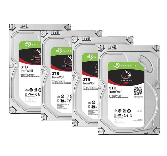 Seagate - Lot de 4 Ironwolf 3 To - 3.5'' SATA III 6 Go/s - Cache 64 Mo - Disque Dur interne
