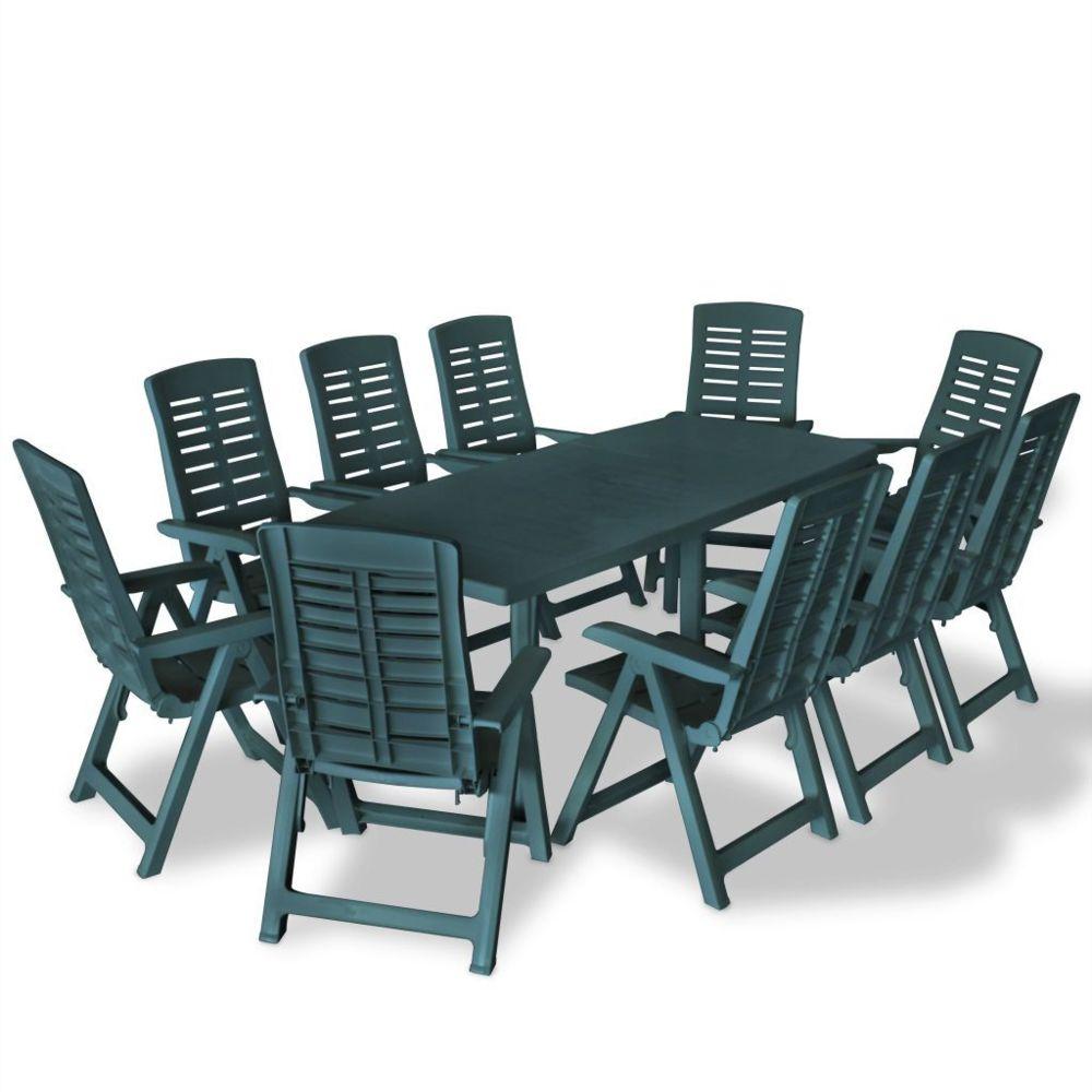 Vidaxl vidaXL Mobilier à dîner d'extérieur 11 pcs Plastique Vert
