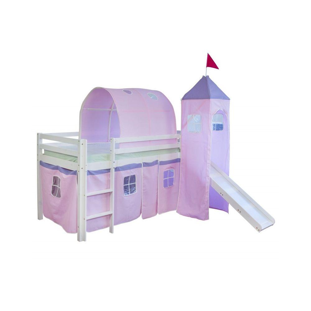 Decoshop26 Lit mezzanine 90x200cm avec échelle toboggan en bois blanc et toile rose incluse LIT06107