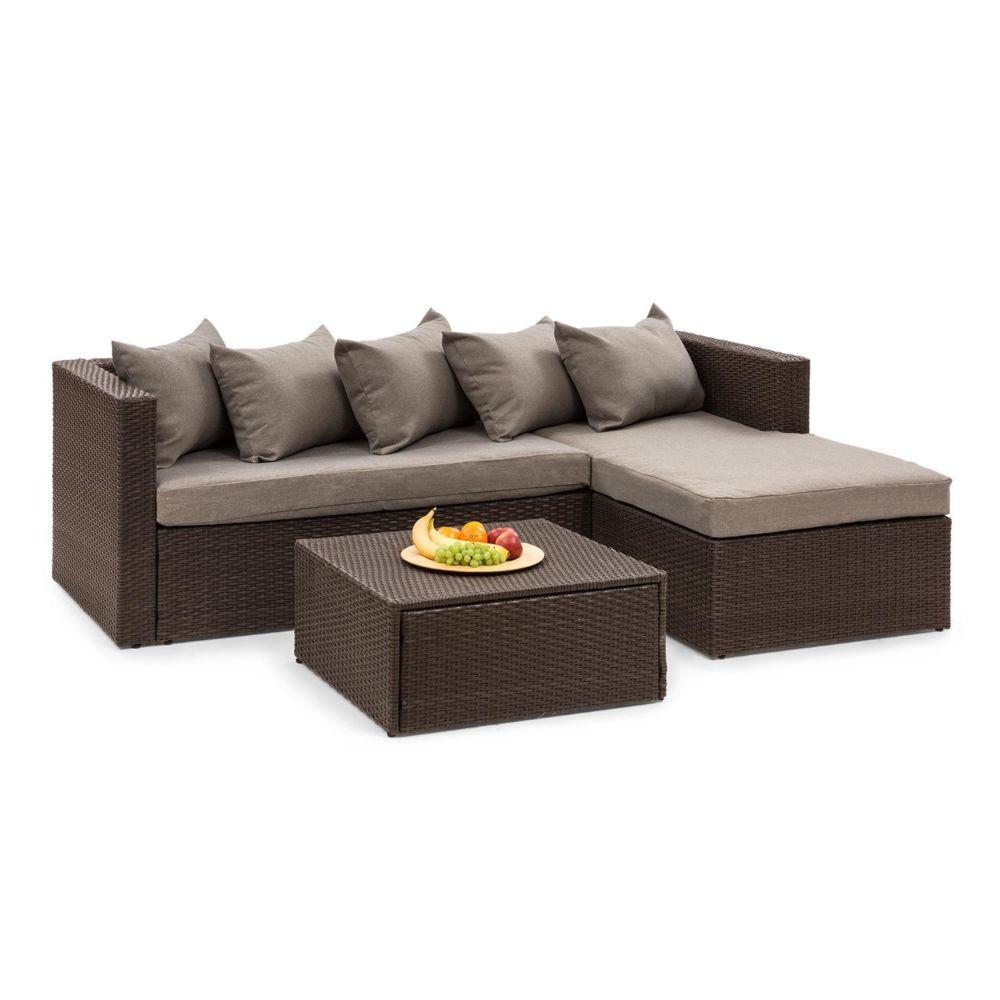 Blumfeldt Blumfeldt Theia Lounge Salon de jardin complet polyrotin marron