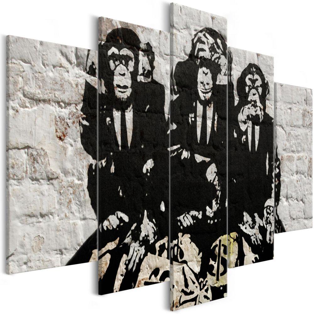 Pegane Tableau - Rich Monkeys (5 Parties) Wide - 100 x 50 cm