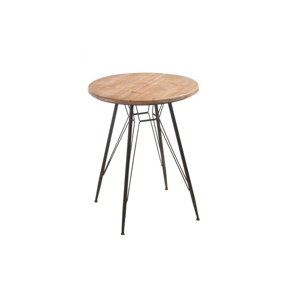 HELLIN TABLE RONDE BOIS ET MÉTAL BISTRO