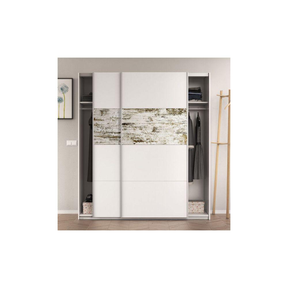 Dansmamaison Armoire 2 portes coulissantes Blanc/Bois blanchi - COPIST - L 180 x l 63 x H 200 cm