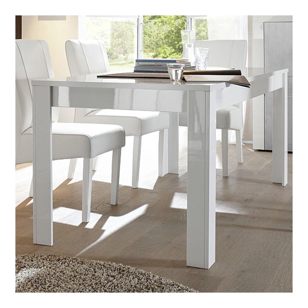 Sofamobili Table à manger blanc laqué brillant design FACTORY