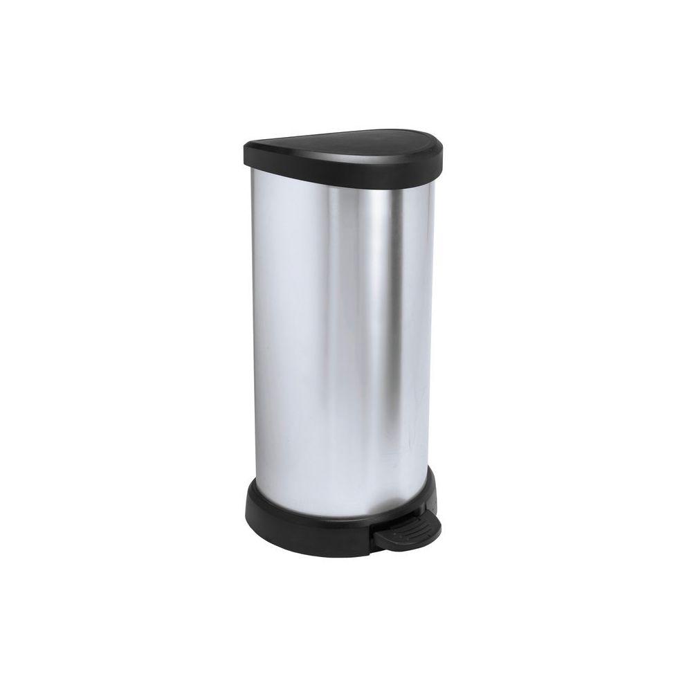 Curver Poubelle de cuisine à pédale 40 Litres aspect métal ronde Bliss - Argenté