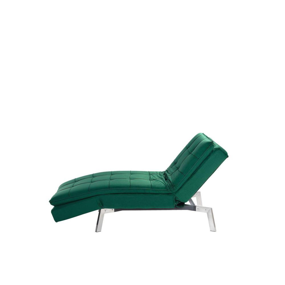 Beliani Beliani Chaise longue réglable vert émeraude LOIRET - rose