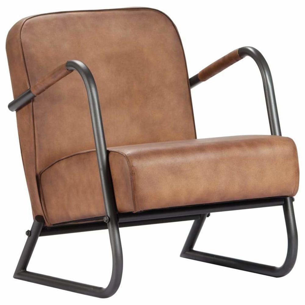 Helloshop26 Fauteuil chaise siège lounge design club sofa salon de repos marron clair cuir véritable 1102296