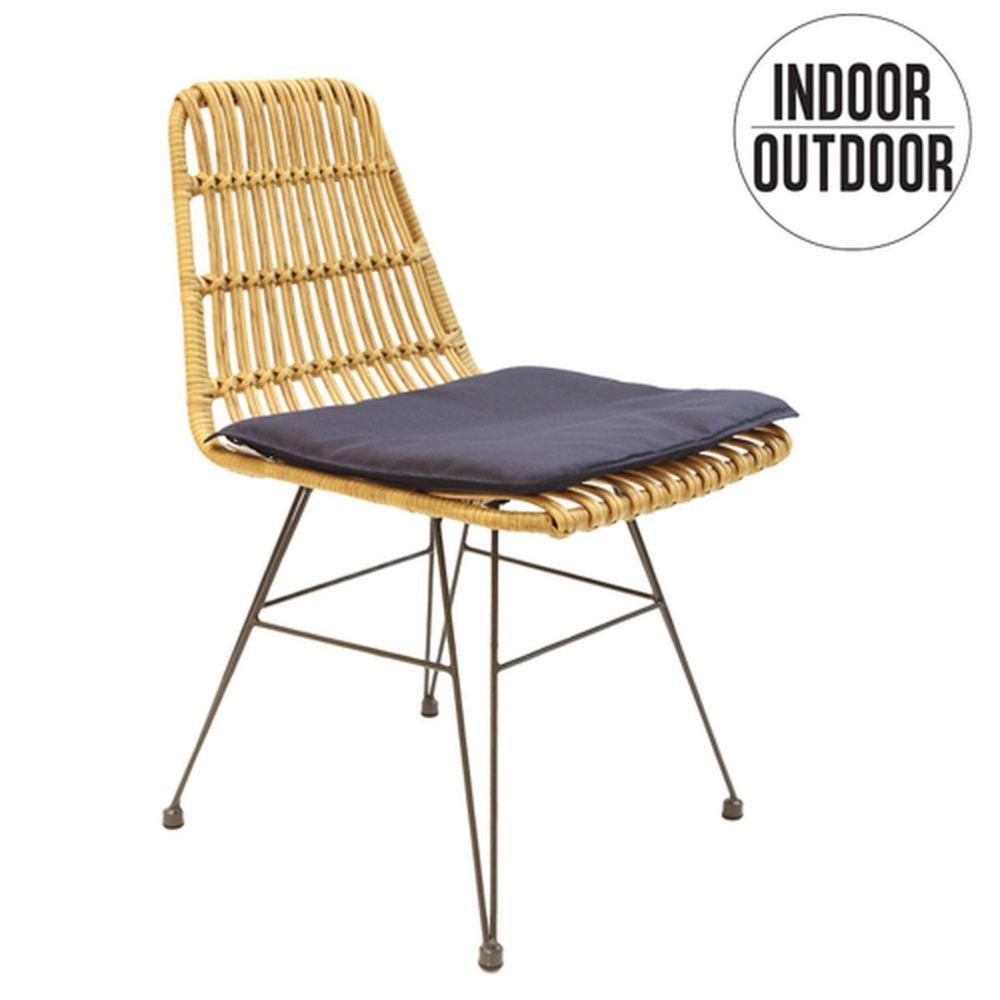 The Home Deco Factory Chaise de jardin tressée design ethnique Surabaya - Marron naturel