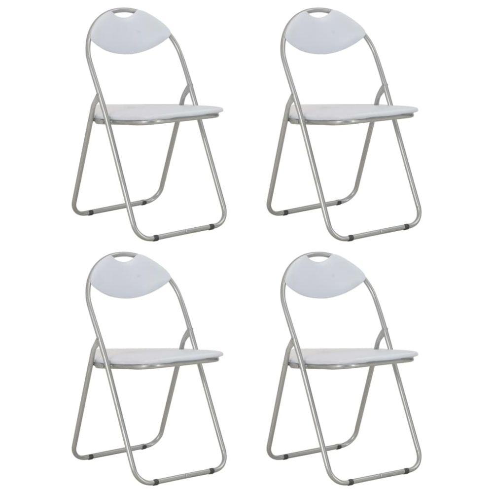 Vidaxl vidaXL Chaises pliantes de salle à manger 4 pcs Blanc Similicuir