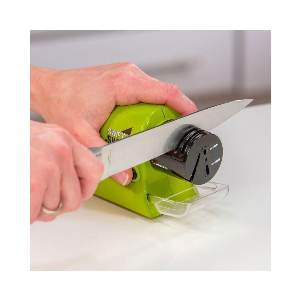 Wewoo Aiguiseur vert de couteaux électrique sans fil Sharp Swifty avec plateau de réception