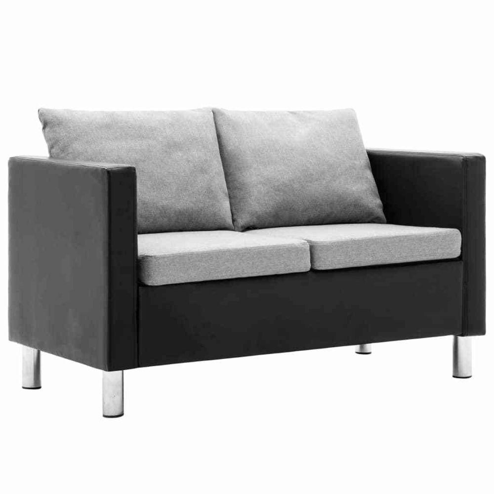 Vidaxl vidaXL Canapé à 2 places Simili-cuir Noir et gris clair