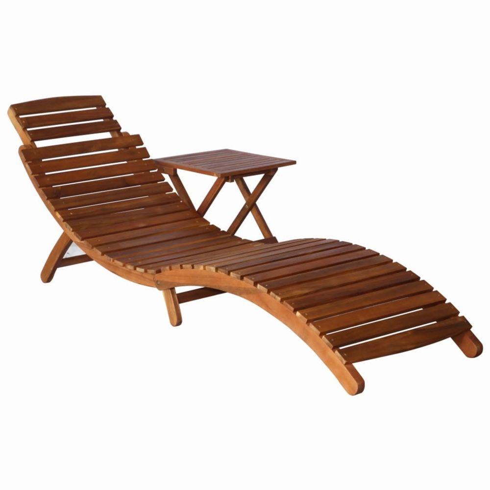 Vidaxl vidaXL Chaise longue avec table Bois d'acacia massif Marron