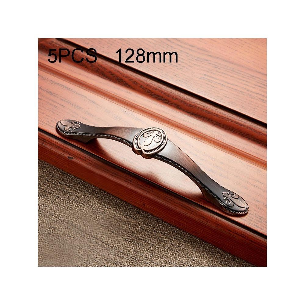 Wewoo Poignée d'armoire 5 PCS 6034-128 de meuble en bois massif poignées bronze rouge