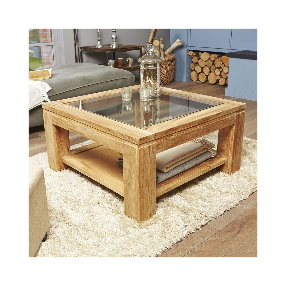 Bois Dessus Bois Dessous Table basse vitrée en bois de teck 80 cm