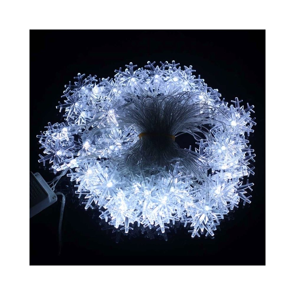 Wewoo Guirlande Lumières de décoration de chaîne de forme de flocon de neige de 10m 70 LED avec l'interface d'extension, CA 22