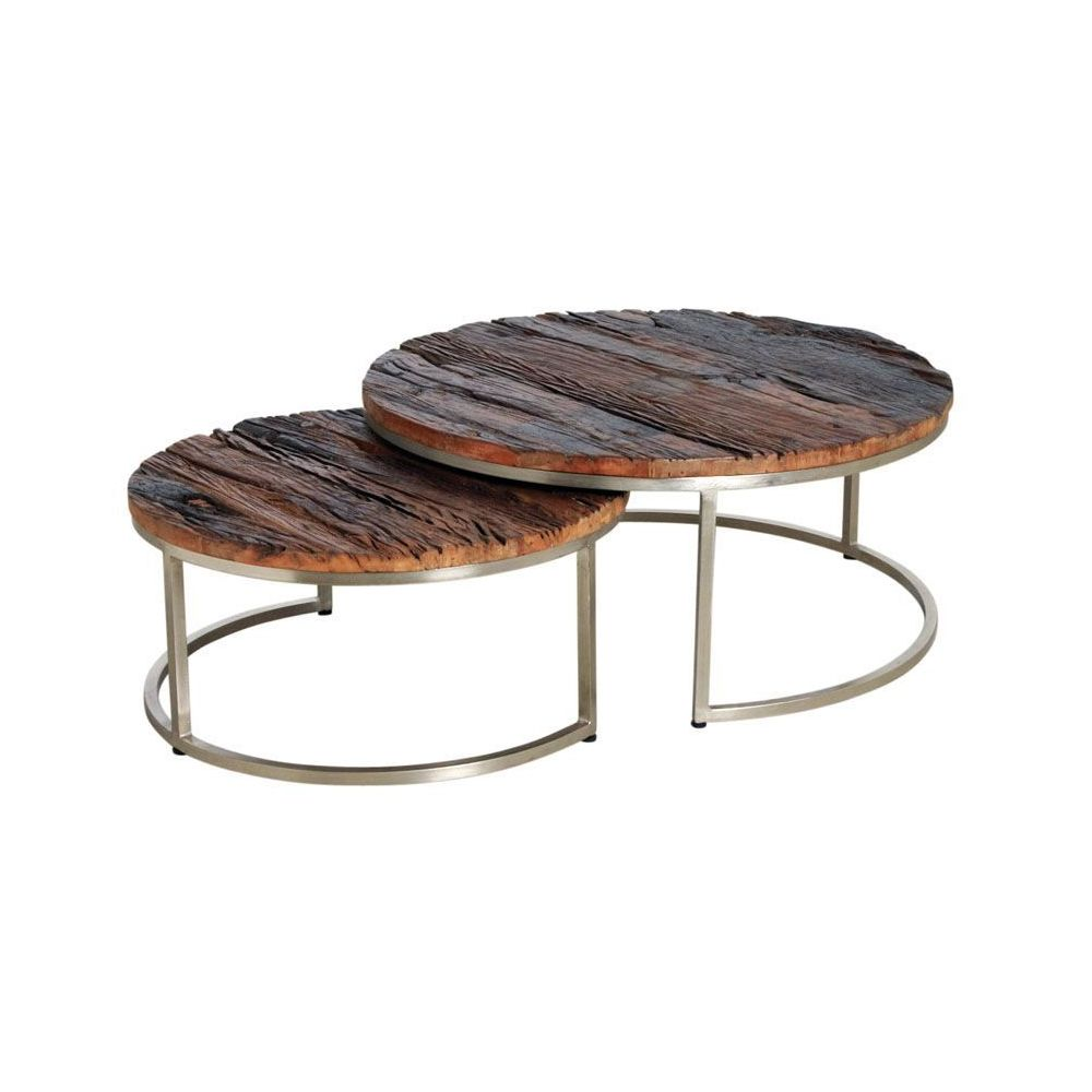Aubry Gaspard Tables gigognes en bois massif et acier (Lot de 2)