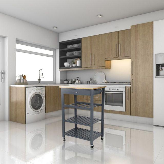 3 etages meuble cuisine a roulettes en pin massif desserte chariot 58 40 84cm