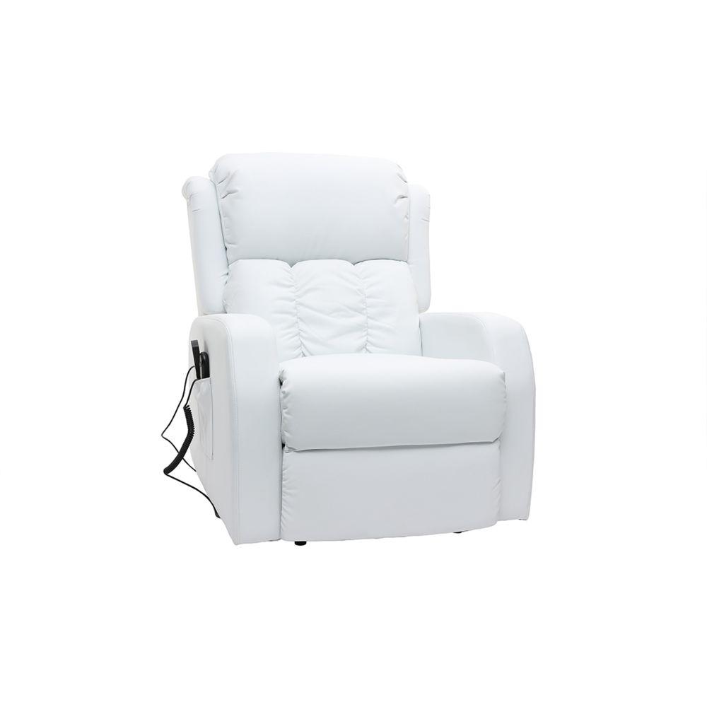 Miliboo Fauteuil relax électrique massant blanc GALLER