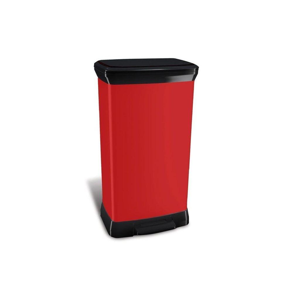 Curver Poubelle de cuisine à pédale 50 Litres aspect métal rectangulaire Bliss - Rouge