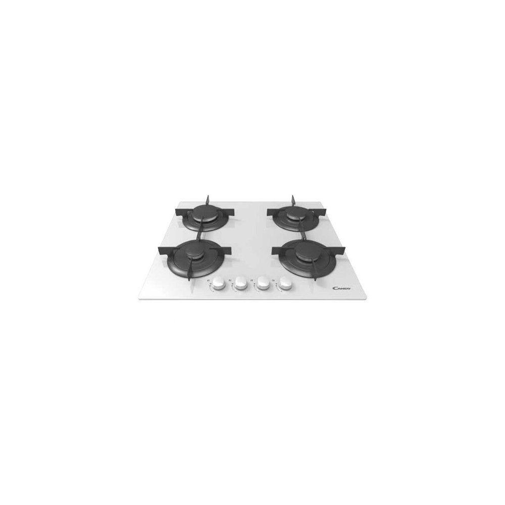 Candy Candy CVG 64 SPB - Plaque (intégré, gaz, verre, rotatif, partie supérieure avant, 59,5 cm) Noir, Couleur Blanc