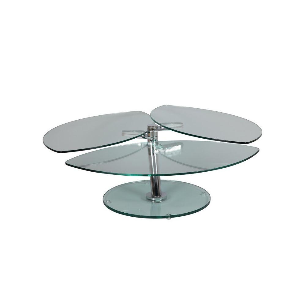 Tousmesmeubles Table basse articulée Acier/Verre - GLASS n°3