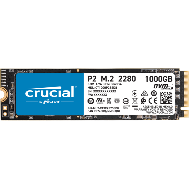 Crucial - P2 3D NAND - 1 To - M.2 NVMe PCIe - Disque SSD