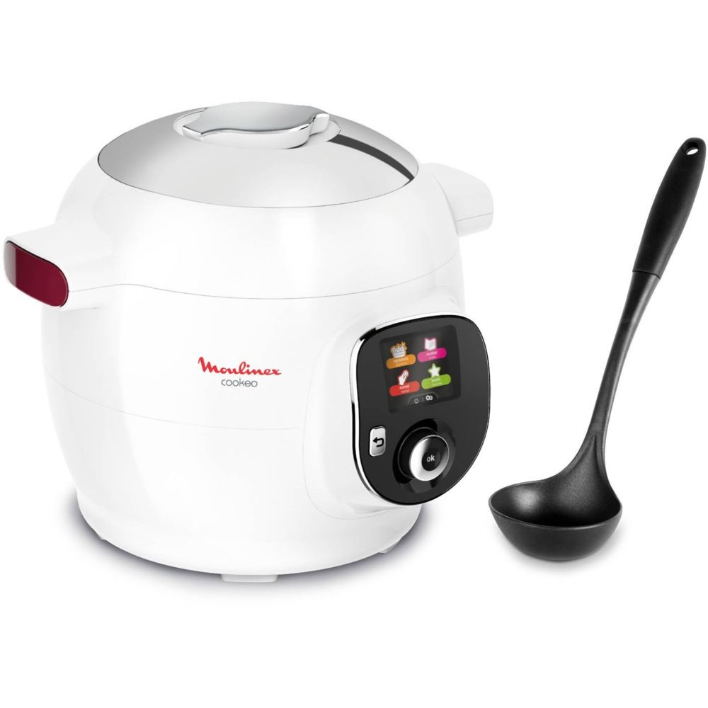 Moulinex Multicuiseur Intelligent Cookeo + Louche - CE700100 - Blanc