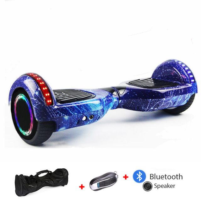 Mac Wheel - 6,5 pouces ciel bleu Hoverboard Gyropod Overboard Smart Scooter + Bluetooth + sac + clé à distance + roue LED - Gyropode, Hoverboard