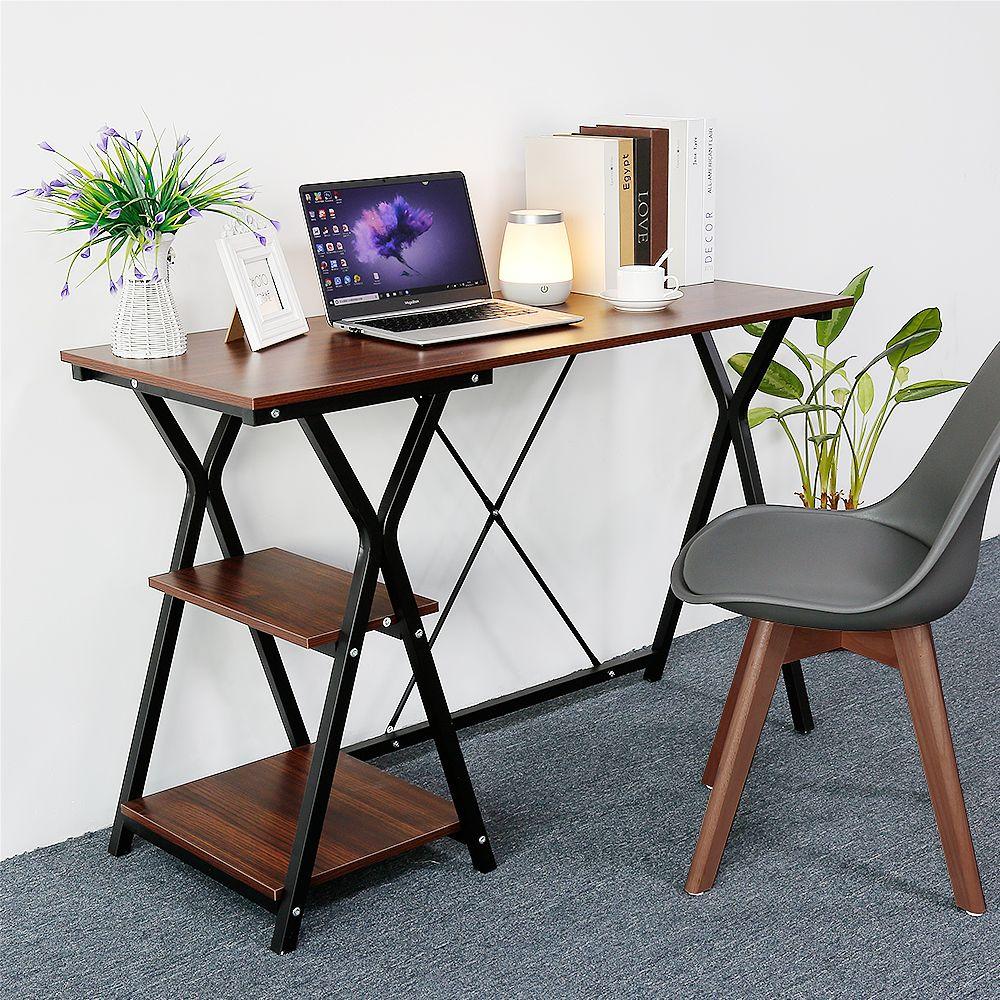 Jeobest Bureau Industriel, Table de Travail, Plan d'etude, marron en bois et metal