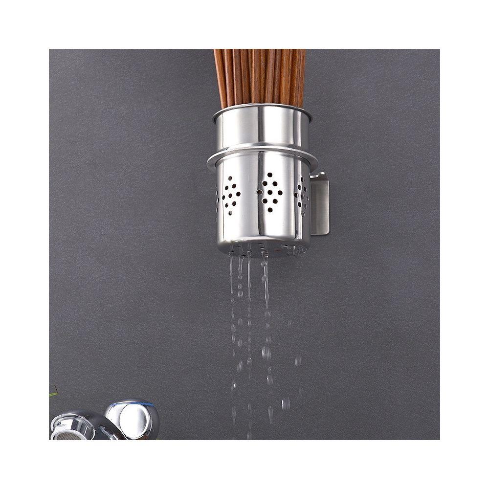 Wewoo Support de rangement mural pour porte-baguettes multifonctionnel en acier inoxydable 304 baril de cuisine