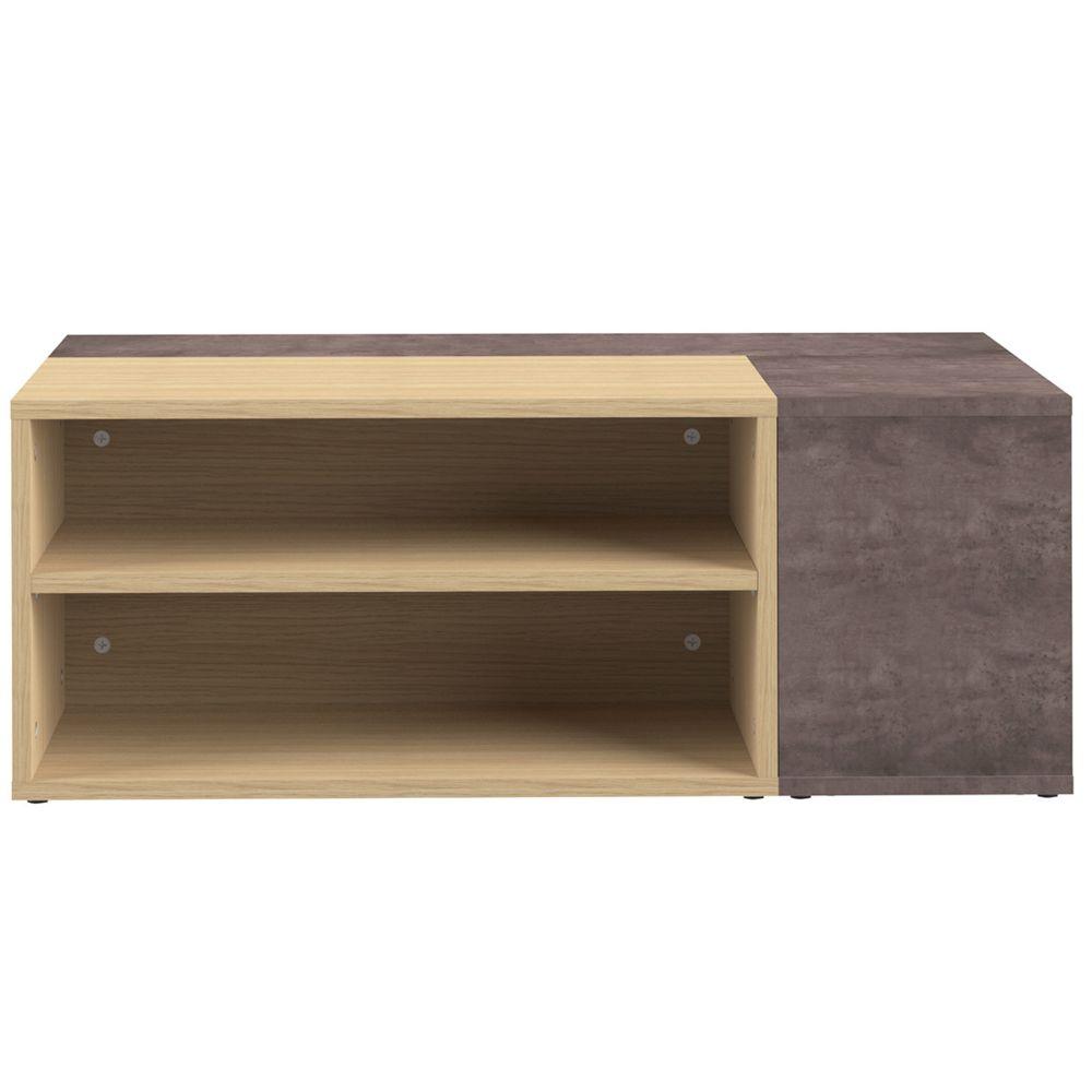 Miliboo Table basse design bois et gris béton amovible QUADRA