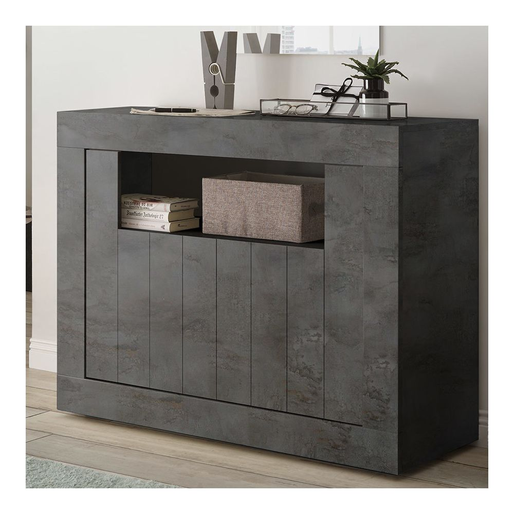 Sofamobili Petit buffet 110 cm moderne anthracite SERENA