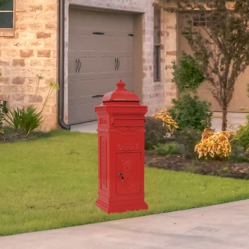 Vidaxl Boîte aux lettres à pilier Aluminium Vintage antirouille Rouge - Maison et jardin/Décorations/Fentes à lettres   Rouge  