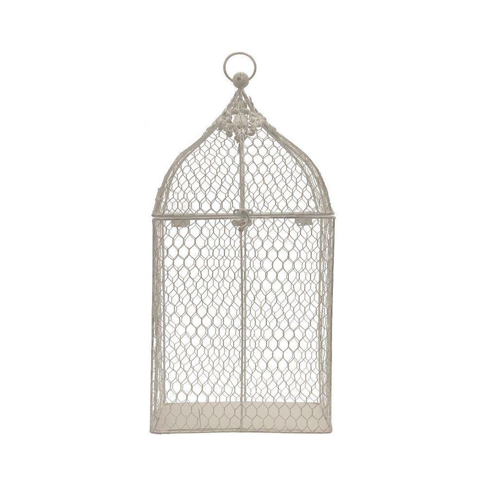 Chemin De Campagne Grande Cage à Oiseaux de Décoration Grillagée Blanc 53 cm