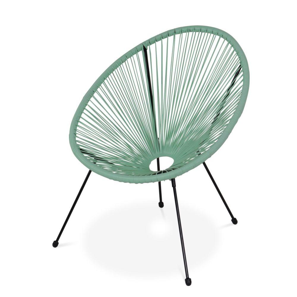 Alice'S Garden Fauteuil ACAPULCO forme d'oeuf - Vert d'eau - Fauteuil 4 pieds design rétro, cordage plastique, intérieur / extérieur
