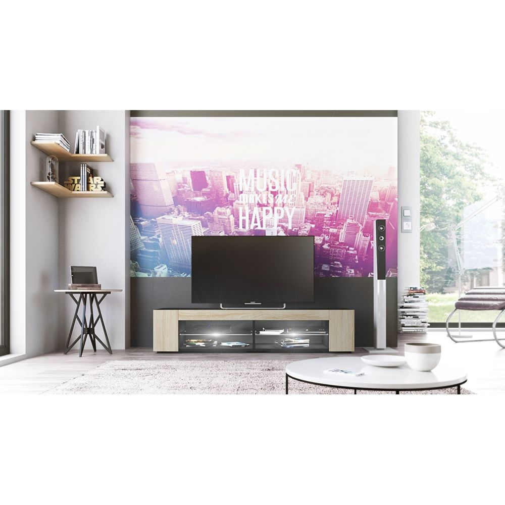 Mpc Meuble Tv Noir mat Façades en Chêne brut MDF led Blanc