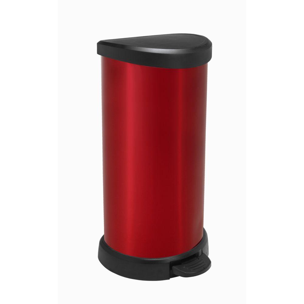 Curver Poubelle à pédale - 40 L - Aspect métal - Rouge - 184116