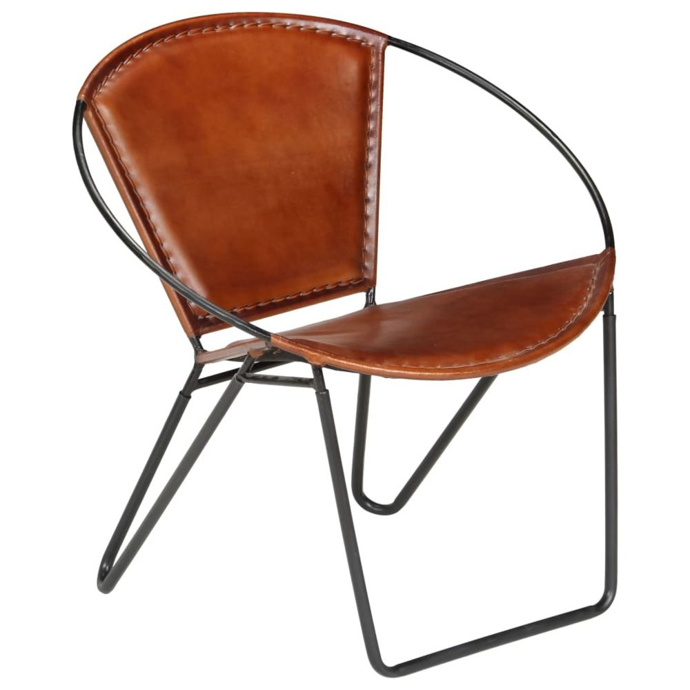 Vidaxl Chaise de relaxation Cuir véritable 69 x 69 x 69 cm Marron   Brun - Fauteuils club, fauteuils inclinables et chauffeuses