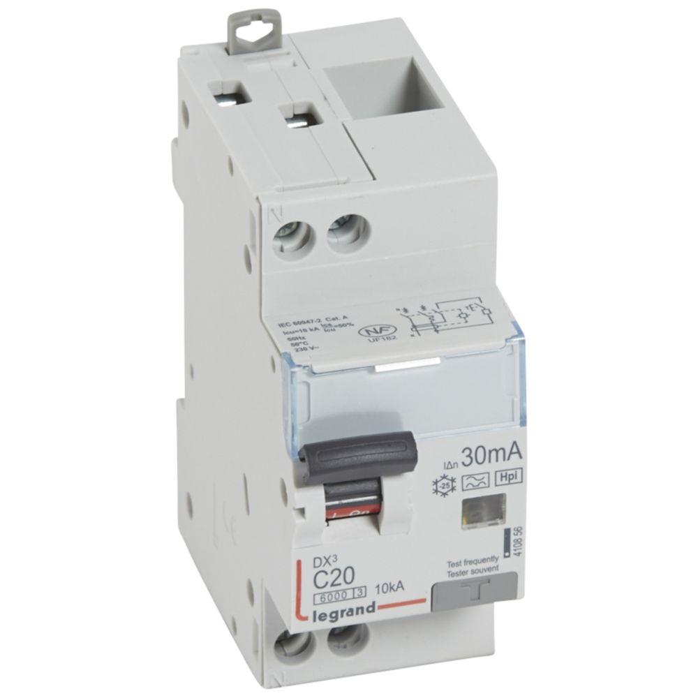 Legrand disjoncteur différentiel legrand dx3 20a courbe c 30ma 2 poles type hpi - vis / vis