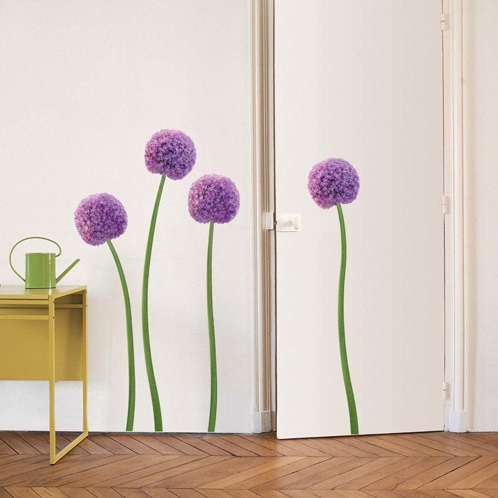 Nouvelles Images Sticker mural Fleurs d'Allium violettes