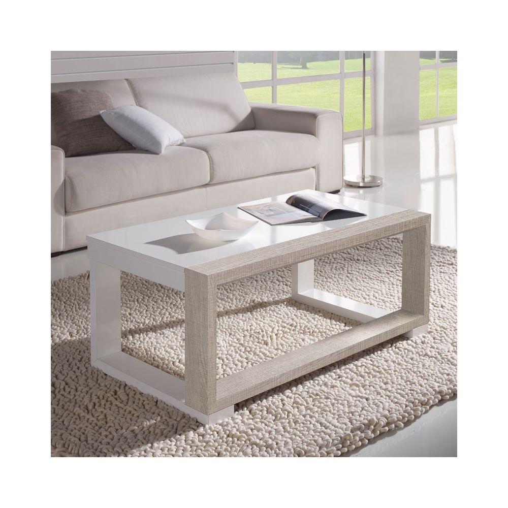 Tousmesmeubles Table basse relevable Blanc/Chêne clair - UPTU